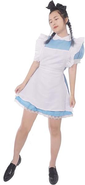 Dienstmädchen Kostüm Kleid mit Haarreif Schürze